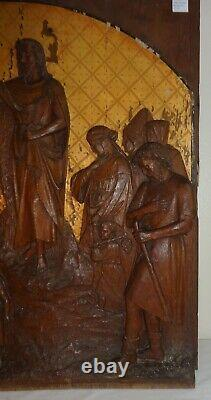 Antique 19th Century Carved Wood Oak Panel Religious Figures Great Detail