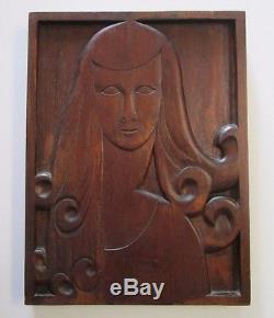 Antique Art Nouveau Deco Panel Wood Carving Sculpture Female Model Portrait Vntg