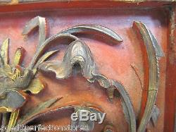 Antique Asian Hand Carved Panel red gold paint flowers bird wall architectural