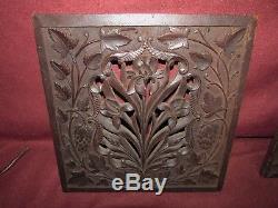 Antique Asian Oriental Art Nouveau Wood Carving Iris Panel