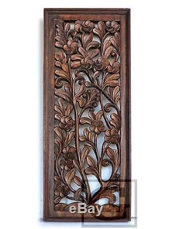 Antique Bali Tree Pattern Carved Wood Home Wall Panel Decor Art Statue FS gtahy