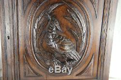 Antique Black Forest German wood carved partridge bird hunting door panel no1