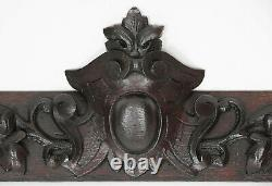 Antique Carved Oak French Louis XIII style Architectural Salvaged Panel Crest