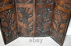 Antique Carved Wood 4 Panel Folding Decorative Fire Screen Divider