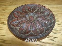 Antique Carved Wood Round Panel Medallion Rosette Furniture Trim Salvage