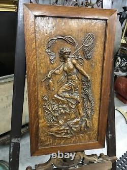 Antique Carved Wooden Art Nouveau Panel Amphitrite Sea Goddess Finely Detailed