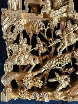 Antique Chinese 3D Gilded Wood Carving Panel 15 1/4 x 9 x 2 Excellent cond