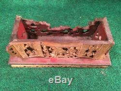 Antique Chinese Buddhist Offering Altar Shrine Carved Wood Panel High Detail #A