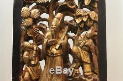 Antique Chinese Carved Gilt Wood Plaque Asian Carving Panel Relief Figures