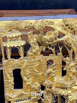 Antique Chinese Carved Gilt Wood Warriors Panel