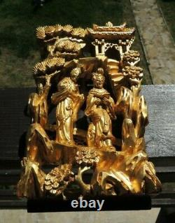 Antique Chinese Carved & Gold Gilt Wood Old Carved Wood Openwork 3D Panel