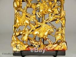 Antique Chinese Carved & Gold Gilt Wood Panel / Screen Warriors on Horseback