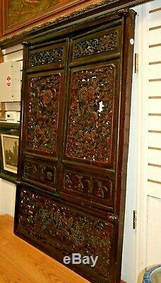 Antique Chinese Carved Pierced Wood Window Screens Lattice Wall Panels