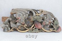 Antique Chinese Carved Polychrome Wood Panel Fragment Bats Leaves & Fruit 19½