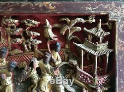 Antique Chinese Carved Red Gilt Painted Wood Panel 15 1/8 X 9 1/2