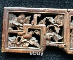 Antique Chinese Carved Wood Panel Figural Scene