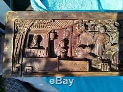Antique Chinese Carved Wood Panel Late QING dynasty, carved with soldiers