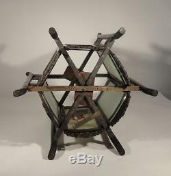 Antique Chinese Carved Zitan Lantern Hardwood Glass Panels Ladies Lamp