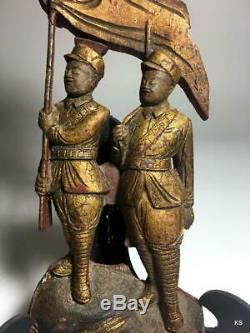 Antique Chinese Gilded Wood Carved Relief Panel PRE 1920s Soldiers, Flag, Eagle