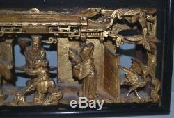 Antique Chinese Hand Carved Deep Relief Gilded Wood Screen Panel