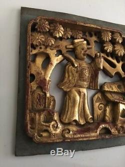 Antique Chinese Hand Carved Deep Relief Gilded Wood Screen Panel 6 X 7 #2