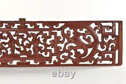 Antique Chinese Red Wooden Two Sided Carving / Carved Panel w Dragon Decor