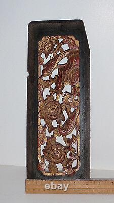Antique Chinese Temple Panel Gilt over Red Carved Panel with Birds and Flowers