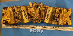 Antique Chinese Temple Wood Carving Panel with Gold Gilt, 23x 6xx3 Inches