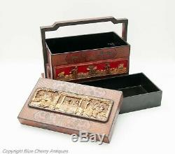 Antique Chinese Wood & Carved Cinnabar Lacquer Panel Wedding Dowry Basket / Box