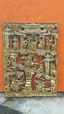 Antique Chinese Wood Carved Pierced Gilt Temple Panel Battle Warriors On Horses