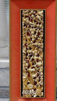 Antique Chinese Wood Carved Pierced Gilt Temple Panel Of Birds, Blossom Cherry