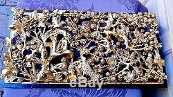 Antique Chinese Wood Carved Pierced Gilt Temple Panel Of Birds, Blossoming Tree