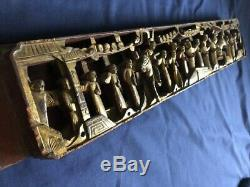 Antique Chinese temple wood carving panel w orig. Gold gilt, 22 3/4 x 4 1/8