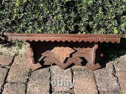 Antique EASTLAKE VICTORIAN Incised Wood CLOCK SHELF Panel CORBEL Carved Fretwork
