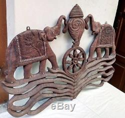 Antique Elephant Trunk Up Salute Vintage Panel Hand carved Home Decor Wall panel