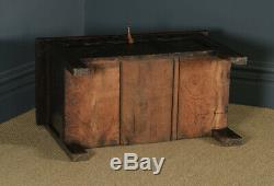 Antique English Charles II Oak Carved Triple Panel Coffer Chest Blanket Box