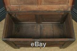 Antique English Georgian Oak Carved Twin Panel Coffer Chest Blanket Box Trunk