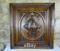 Antique Fench Large Carved Wood Solid Walnut Panel Door Fishing Scene-Trout-Ray
