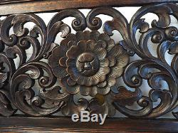 Antique Flower Kanok Branch Carved Wood Home Wall Panel Decor Art Statue gtahy