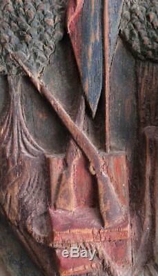 Antique Folk Art Primitive Carved panel tavern pub trade sign early Americana
