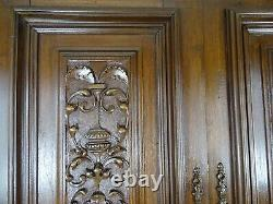 Antique French A Pair of Solid Walnut Carved Wood Door Panel Renaissance Style