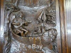 Antique French Architectural Hand Carved Oak Wood Door Panel -Boat Ride Medieval