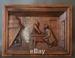 Antique French Architectural Rustic 19th. C Carved Oak Wood Wall Panel of Breton