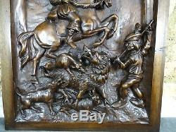 Antique French Architectural Walnut Door Panel Carved Wood Wild Boar Hunting