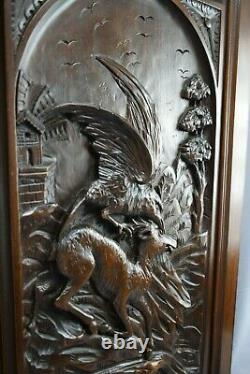 Antique French Black Forest Eagle and Chamois Carved Wood Wall Panel Door