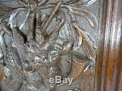 Antique French Carved Architectural Oak Door Panel Carved Wood -Hunting- Trophy