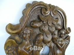 Antique French Carved Oak Wood Panel Salvage Two Angels with Fruits -18th/19th