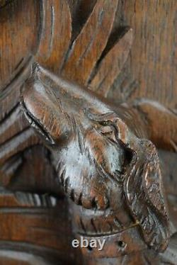 Antique French Carved Oak Wood Wall Panel Hunting Dog Bird Black Forest
