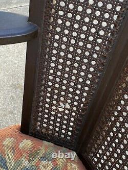 Antique French Carved Walnut 3 Panel Cane Back Wing Arm Chair Needlepoint Seat