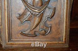 Antique French Carved Wood Cabinet Architectural Panel Crest Medallion